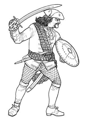 Ausmalbilder Pirat mit Schwert und Schild