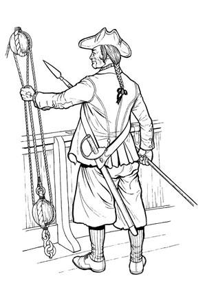 ausmalbilder - malvorlagen pirat - pirat mit speer
