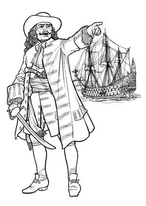 ausmalbilder piratencapitain mit schiff piraten zum ausmalen malvorlagen pirat. Black Bedroom Furniture Sets. Home Design Ideas