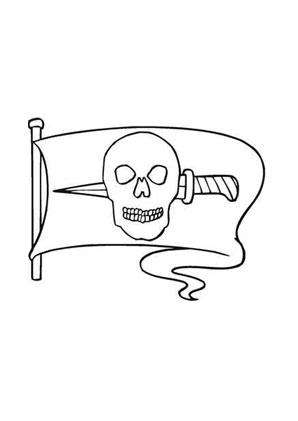 Ausmalbilder Piratenfahne mit Messer