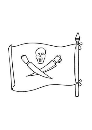 Ausmalbilder Piratenfahne mit Schwertern