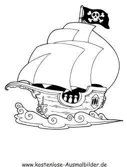 Ausmalbilder Piraten Schiff