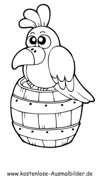 Ausmalbilder Vogel auf Fass