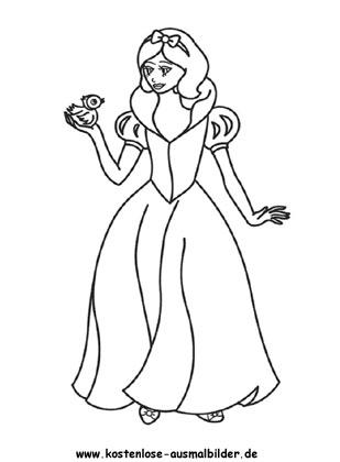 Ausmalbild Prinzessin - Prinzessin ausmalen | Malvorlagen kl
