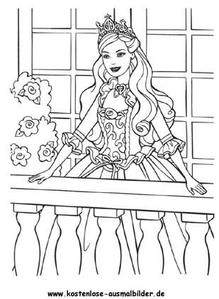 Prinzessin auf dem Balkon - Prinzessin ausmalen | Malvorlagen