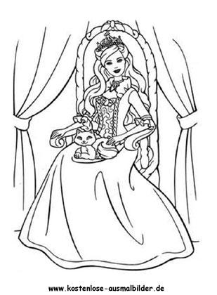 Prinzessin auf dem Thron - Prinzessin ausmalen | Malvorlagen kl
