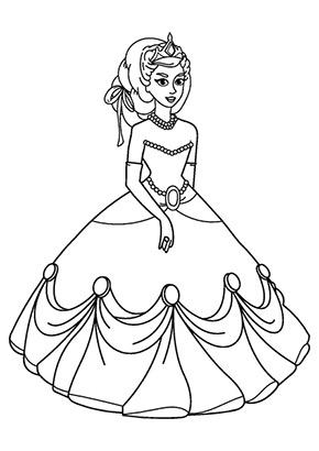 Ausmalbild Prinzessin Im Ball Kleid Gratis Ausdrucken