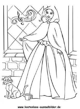 Prinzessin mit Katze   Prinzessin ausmalen | Malvorlagen kl