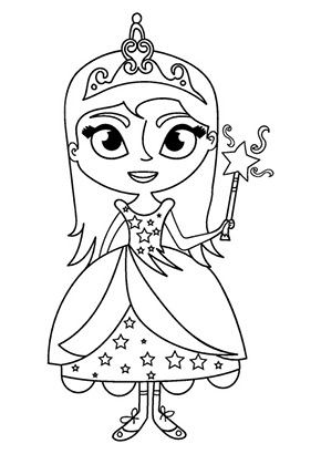 Ausmalbild Prinzessin Mit Stab Gratis Ausdrucken
