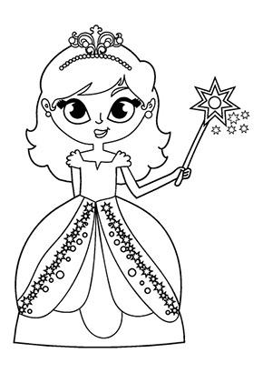 Ausmalbild Prinzessin Mit Zauberstab Gratis Ausdrucken