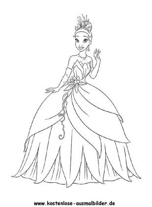 Prinzessin mit schoenem Kleid - Prinzessin ausmalen | Malvorlagen kl