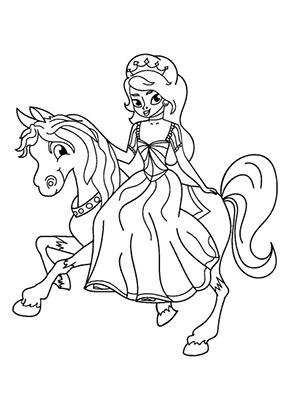 Ausmalbild Prinzessin Reitet Gratis Ausdrucken