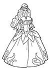 Ausmalbild Prinzessin im Blumenkleid