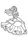 Ausmalbild Prinzessin im Tanzkleid