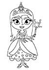 Ausmalbild Prinzessin mit Stab