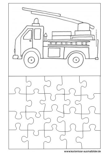 Ausmalbilder Malvorlagen Puzzle Vorlage Puzzle Vorlage Feürwehrauto