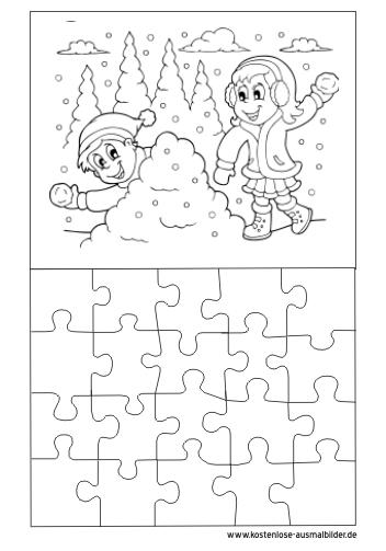 Ausmalbilder Puzzle Vorlage Winter - Puzzle zum ausmalen ...