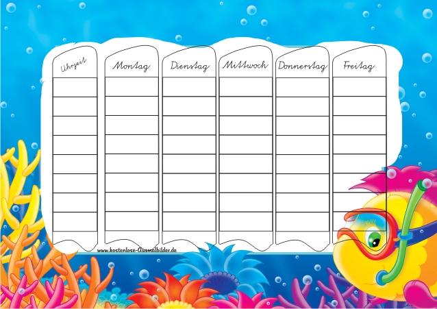 Stundenplan Fisch - Schule ausmalen | Malvorlagen Stundenplan