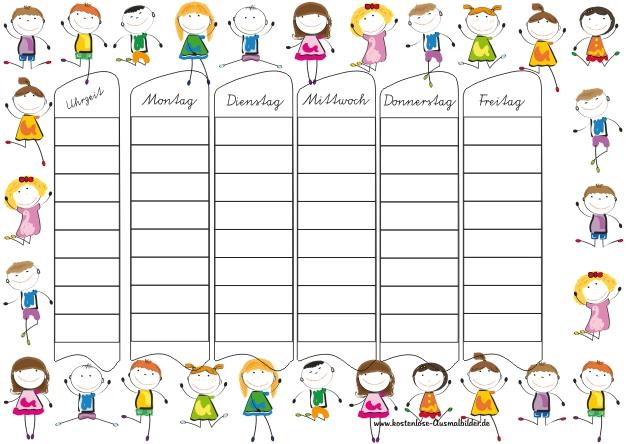Stundenplan Grundschule - Schule ausmalen | Malvorlagen Stundenplan