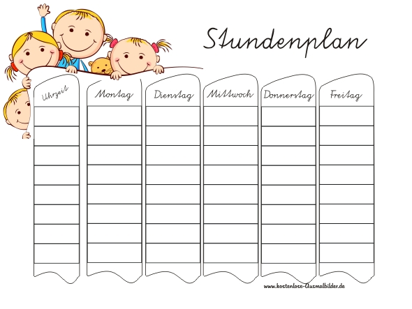 Stundenplan Kind - Schule ausmalen : Malvorlagen Stundenplan