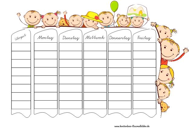 Vorlage Stundenplan Kinder