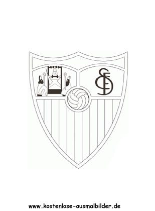 FC Sevilla - Vereinswappen-Fussball ausmalen   Malvorlagen Spanien