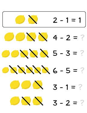 Arbeitsblatt Zitronen subtrahieren