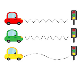 Arbeitsblatt Autos und Ampeln