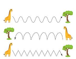 Arbeitsblatt Giraffen und Bäume