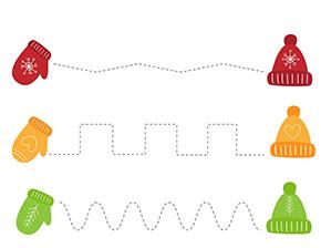 Arbeitsblatt Handschuhe und Mützen