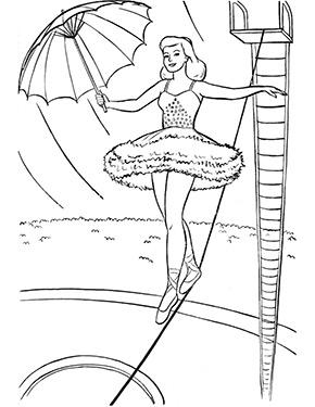 Ausmalbild Seiltanzerin Im Zirkus Zum Gratis Ausdrucken