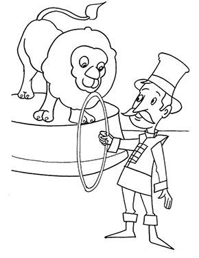 ausmalbild zirkus löwe mit dompteur zum gratis ausdrucken