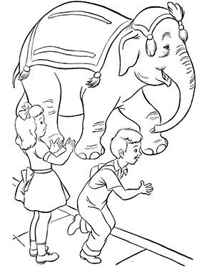 ausmalbild zirkuselefant mit kindern zum gratis ausdrucken