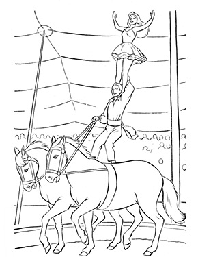 ausmalbild zirkuspferde mit artisten zum gratis ausdrucken