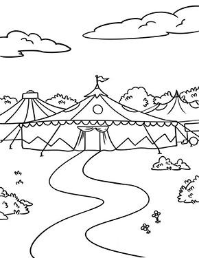 ausmalbild zirkuszelte zum gratis ausdrucken