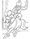 Ausmalbild Affe reitet auf Zirkus Pony