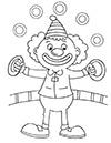 Ausmalbild Clown in der Manege