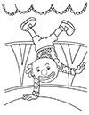 Ausmalbild Clown macht Handstand