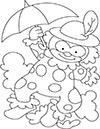 Ausmalbild Zirkus Clown mit Schirm