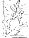 Ausmalbild Zirkuspferd mit Artistin