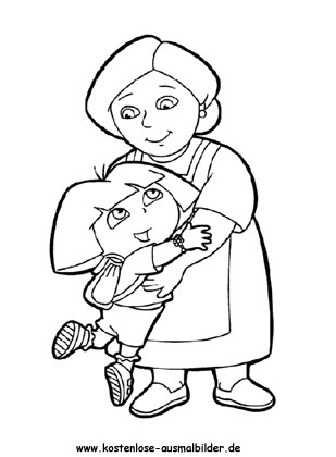 Dora Oma - fernsehen ausmalen | Malvorlagen Dora