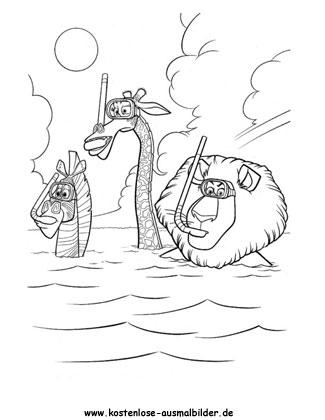 Ausmalbild Magagascar 3 Marty Melman A